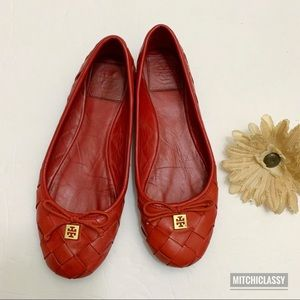 •Tory Burch• Tangerine Woven Leather Flats